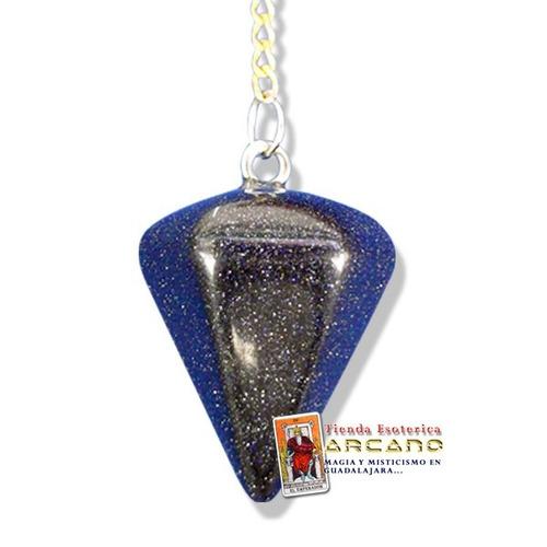 pendulo aventurina azul - incluye tarjetas de radiestesia
