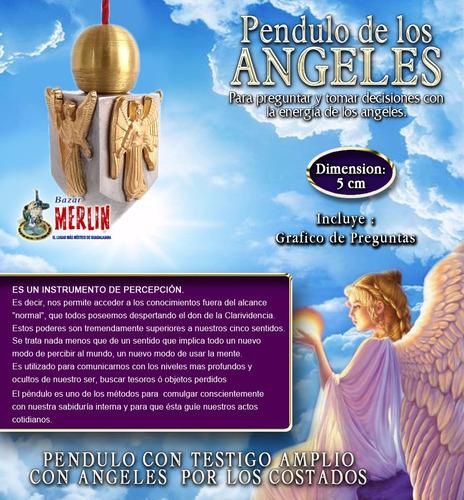 péndulo con testigo de ángeles - incluye tarjeta radiestesia