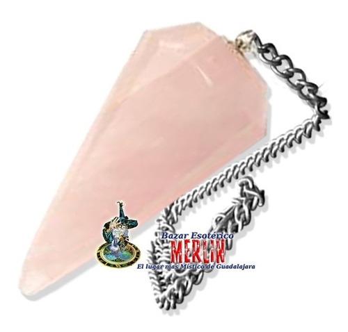 pendulo de cuarzo rosa / con cadena y libro