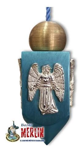 péndulo de los angeles - azul  con testigo y tarjeta