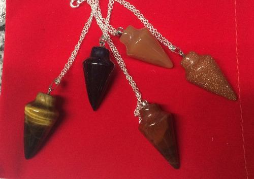 pendulo de piedras naturales + cadena gratis! importado