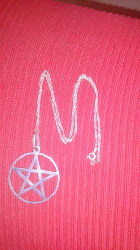 pentagrama de prata e corrente de prata 40 cm