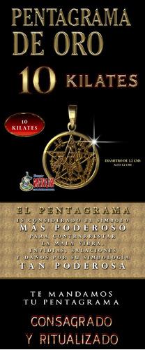 pentagrama oro - 10 kilates diámetro 2.2 x 3.2 cms