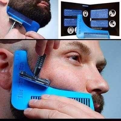 pente modelador de barba regua para bigode alinhador pelos