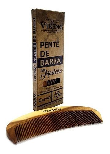 pente para barba - madeira curvo control frizz viking