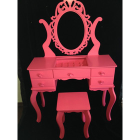 Penteadeira 5 Gav Mold.banco Porta Biju Mdf Pintura Pink!!!!