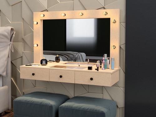 penteadeira camarim de parede moldura para espelho mdf puff