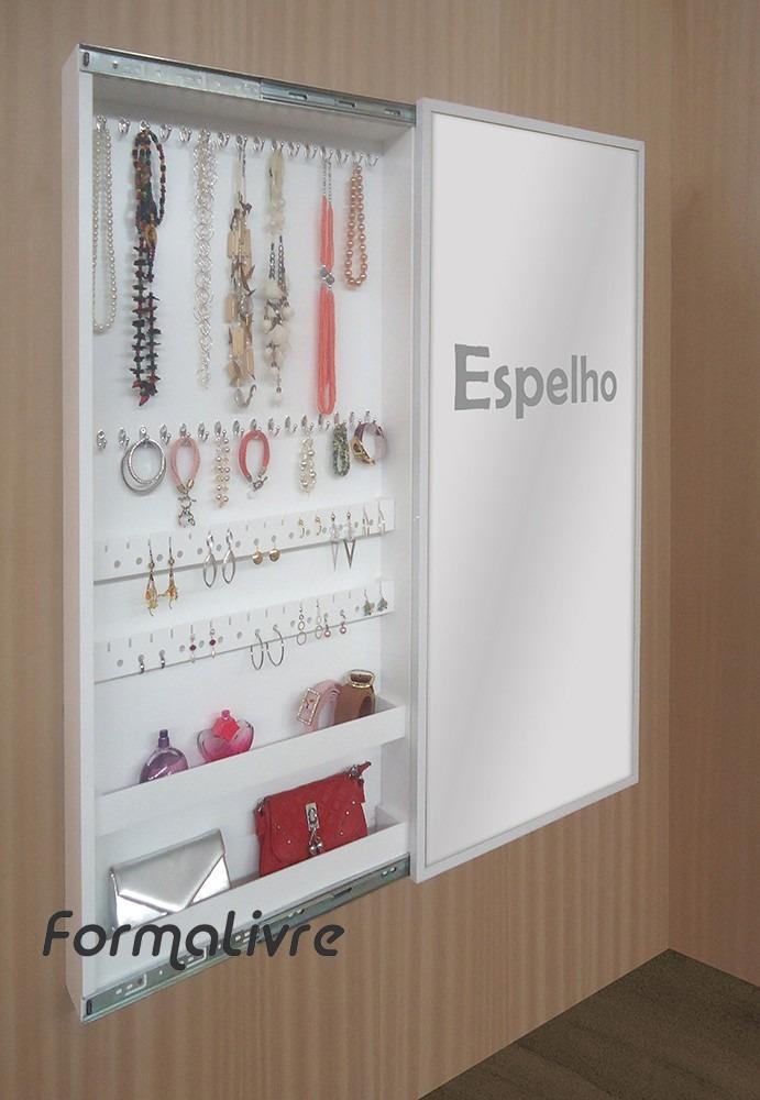 Aparador Zara Home ~ Penteadeira Porta Jóias Bijuterias De Parede Com Espelho R$ 948,00 em Mercado Livre