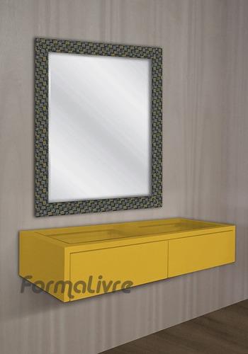 penteadeira suspensa maquiagem com nichos amarelo laca