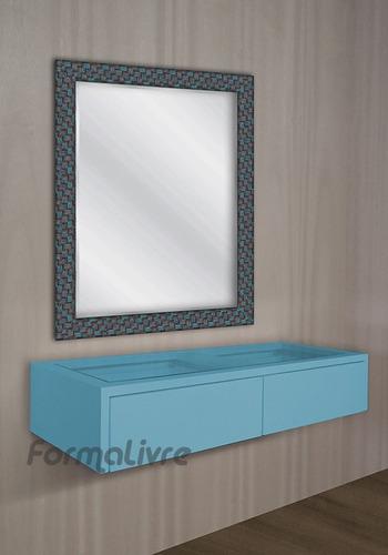 penteadeira suspensa nicho para maquiagem - azul laqueado