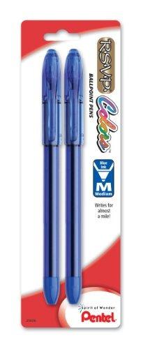 pentel r.s.v.p. colores bolígrafo, media line, azul tinta,