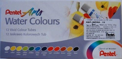 pentel water colors - tinta aquarela tubo - 12 cores wfrs12