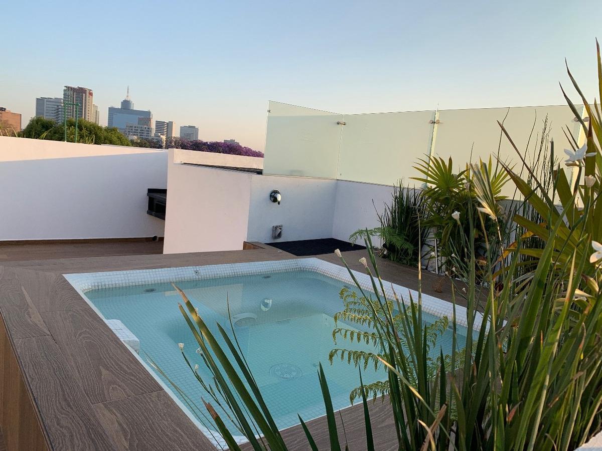 penthouse  cerca insurgentes roof garden privado muy amplio