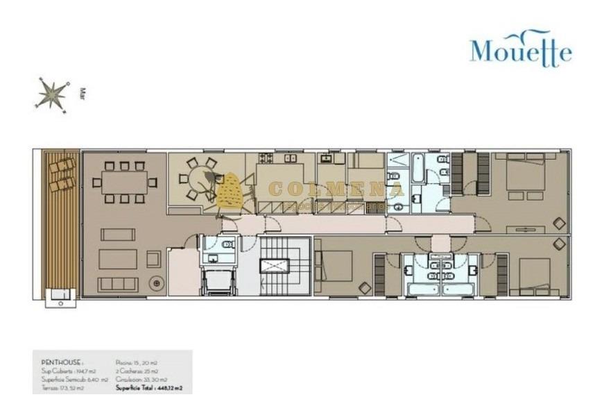 penthouse currasquero con terraza piscina y churrasquero uso exclusivo.-ref:179