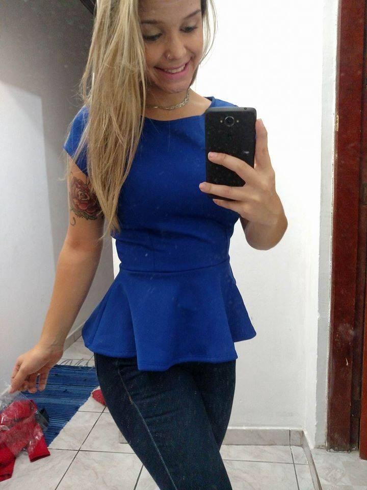 28002e2d7f peplum bandagem blusinha feminina modela o corpo blusa azul. Carregando zoom .