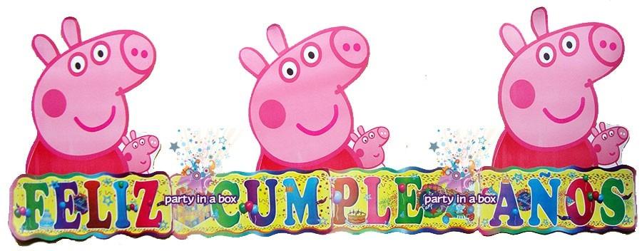 Peppa letrero feliz cumplea os o mantel todo para tu - Todo para fiestas de cumpleanos ...