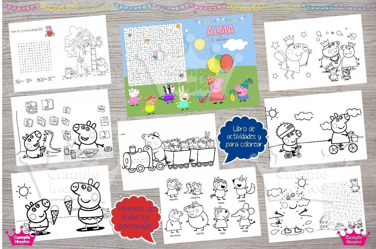 Peppa Libros Para Pintar Personalizados Souvenirs Cumpleaños - $ 28 ...