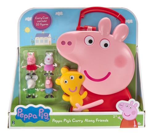 peppa pig carry along friends - 4 figuras con estuche