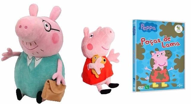 peppa pig e papai pig de pelúcia + dvd da peppa pepa pai pig