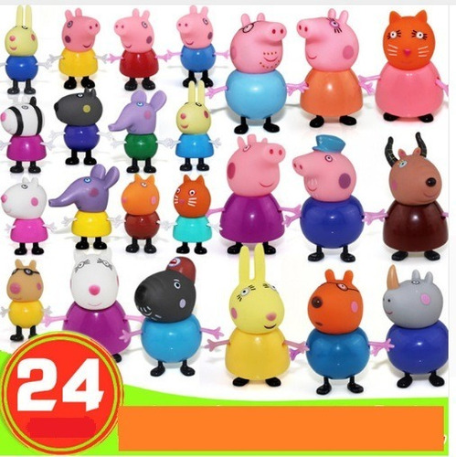 peppa pig família + amigos coleção 24 bonecos pronta entrega