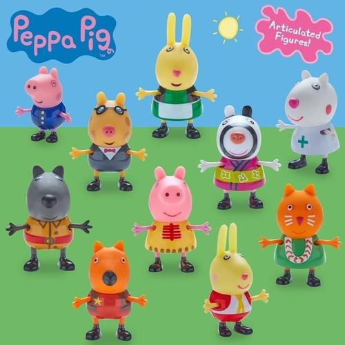 peppa pig fantasias conjunto com 10 figuras articuladas dtc