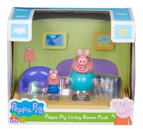 peppa pig living room playset 2 figuras y accesorios