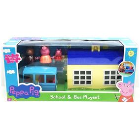 Mundo Pig Peppa Autobus Con Playset Y Escuela Figuras 06593 FJlK1c3T