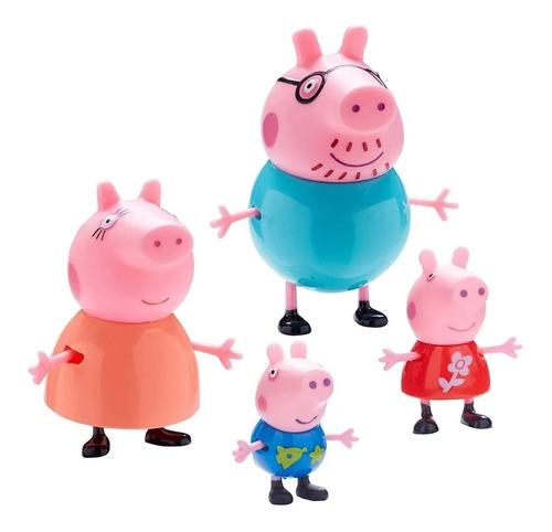 peppa pig set de 4 muñecos familia original @ mca