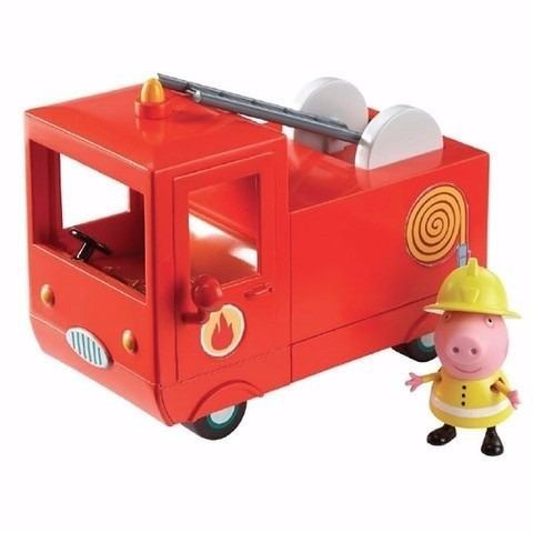 peppa pig set de camión camioneta bomberos mas pepa cerdita