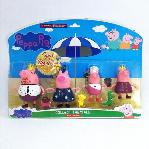 peppa pig x 4 personajes mas accesorios pepa pig
