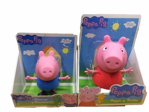 peppa pig y george  grandes  25 cm articulados