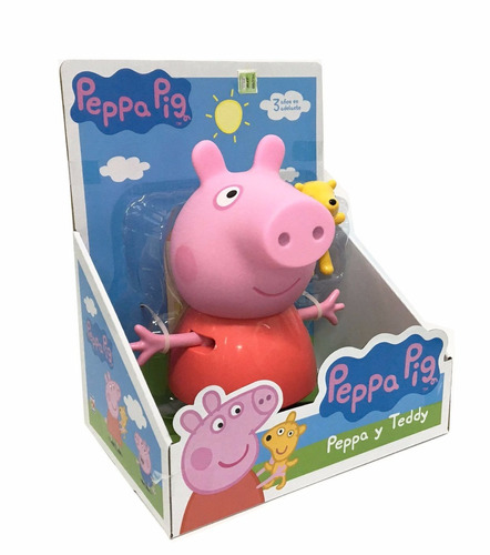 peppa pig y teddy set muneño rigido original