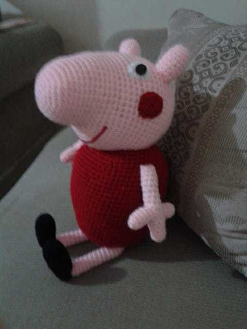 Peppa Pig con osito. Muñeco amigurumi crochet. | Etsy | 640x480