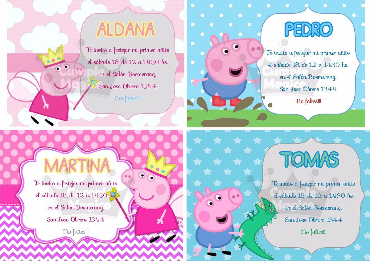 Peppa Tarjetas Invitaciones Cumpleaños Personalizadas X 10