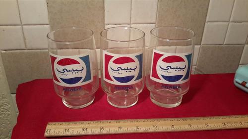 pepsi vasos de vidrio vintage 3pz arabia c2845