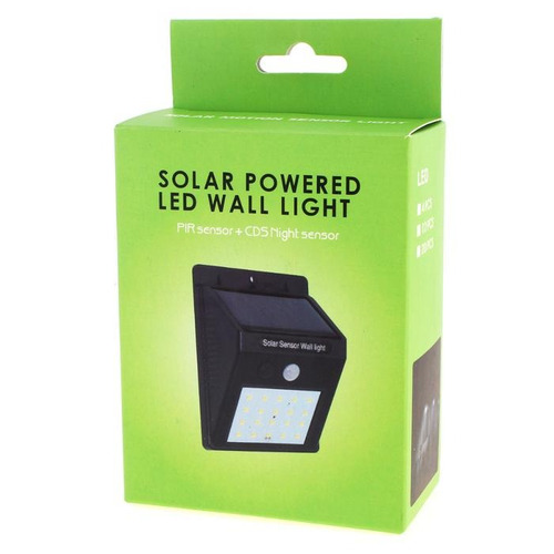 pequeña lampara led con panel solar y sensor de movimiento