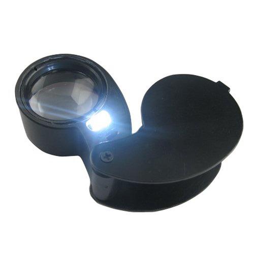 pequeña lupa portátil joyero 40x 25mm iluminación led