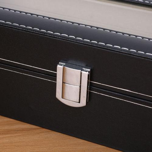 pequeña ranura 6 cuero reloj pantalla organizador de casos
