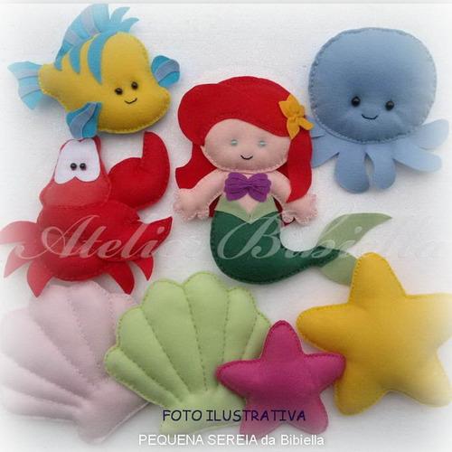 pequena sereia ariel - kit 4 personagens feltro p/ decoração