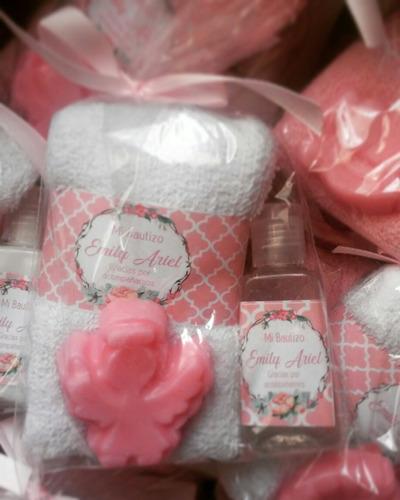 pequeño kit toalla facial 1 mini jabón 1 gel antibacterial