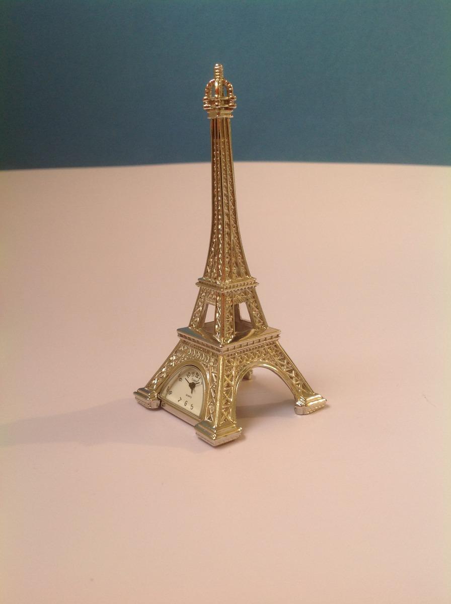 Peque o reloj de mesa fiorum cuartz torre eiffel metal for Reloj digital de mesa