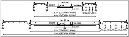 percha elevación cargas largas (hasta 12 metros) 4 cheques