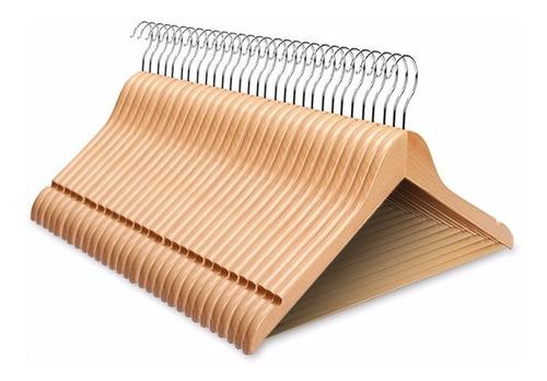 perchas de madera lustrada elegante diseño pack 96 unidades