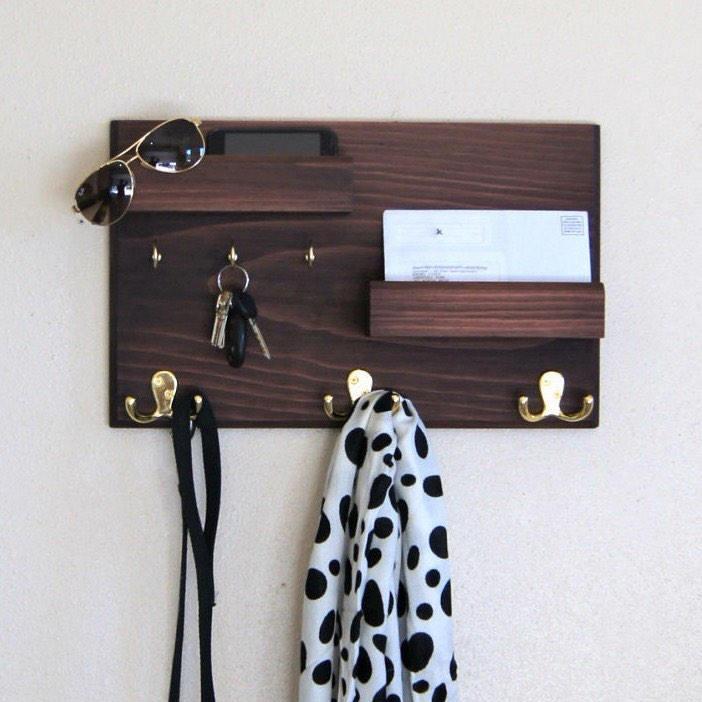Perchero c 2 repisas para documentos y porta llaves rustico en mercado libre - Porta llaves pared ...