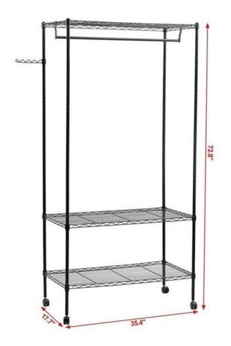 perchero de 3 niveles organizador de ropa de metal estante