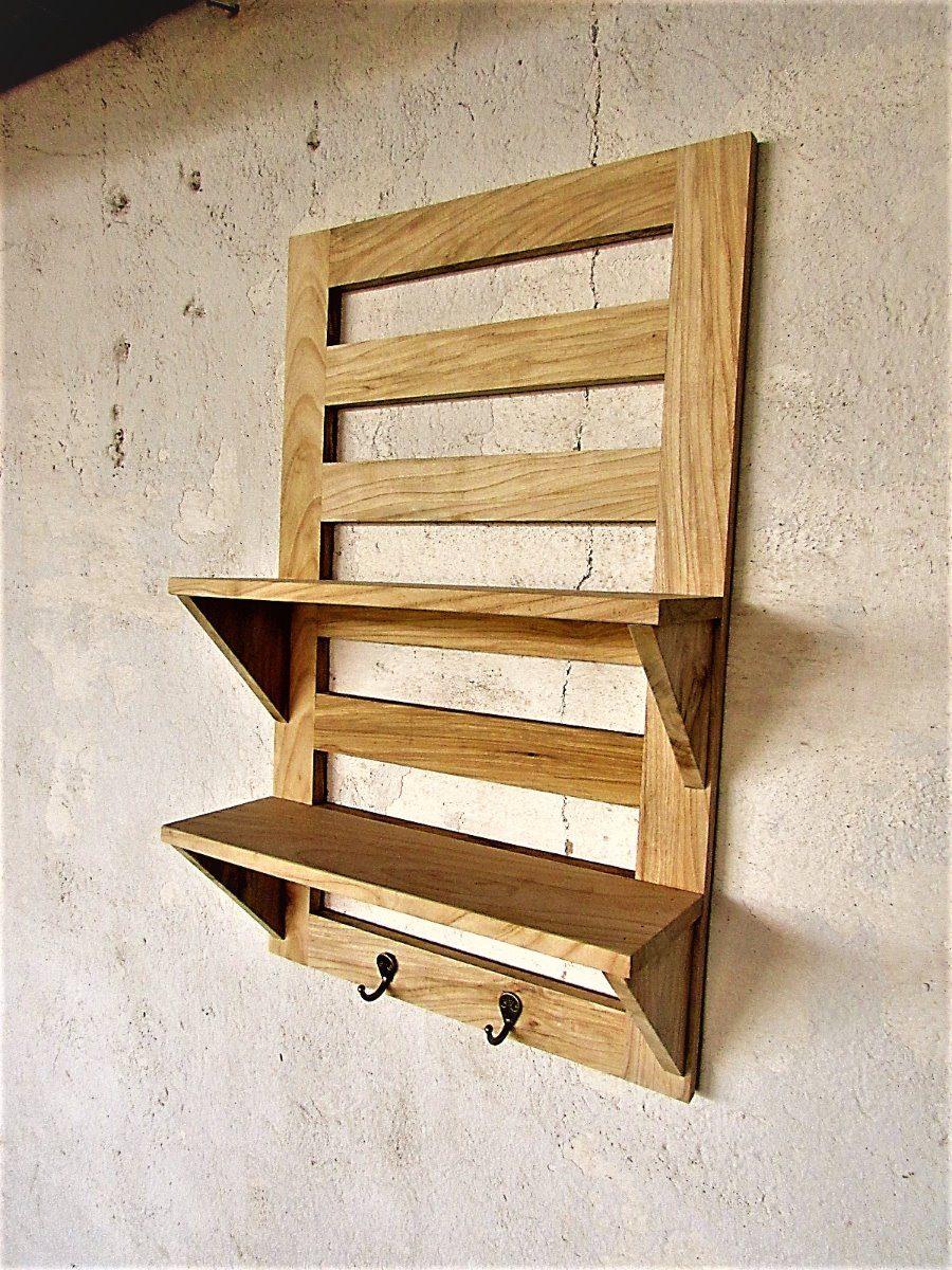 Perchero de madera con repisas madera solida varios for Ganchos para repisas