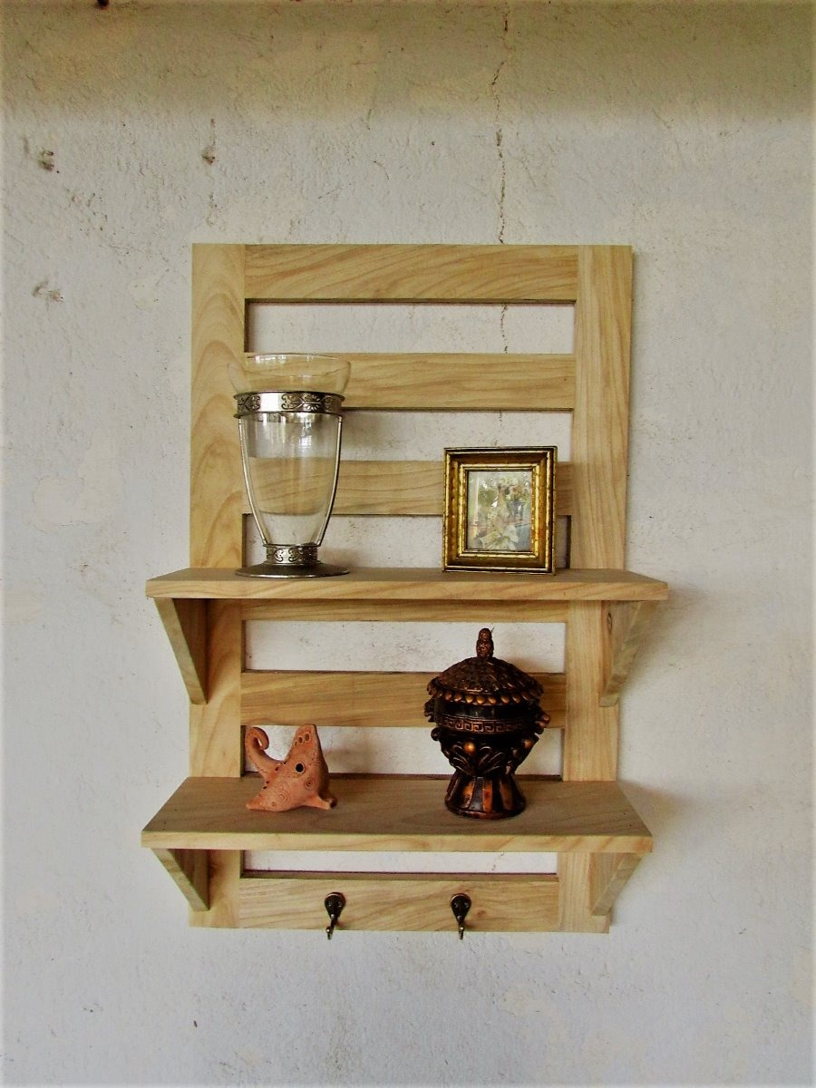 Perchero de madera con repisas madera solida varios for Madera para tejados de segunda mano