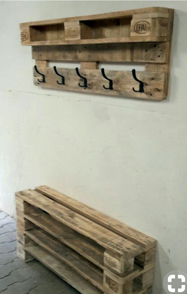 Perchero de madera palet en mercado libre for Deco en palet de madera
