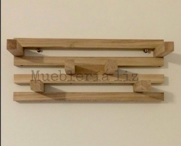 Perchero de madera para pared colgante ideal para regalos - Percheros de pared de madera ...