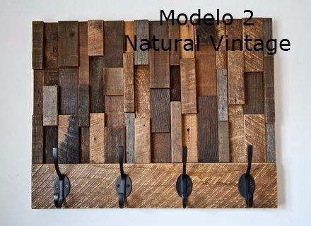 Perchero de pared con bloques de madera exotica rustico - Percheros de madera rusticos ...